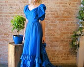 Cobalt Blue Vintage Southern Belle Gown with Train Prom Dress