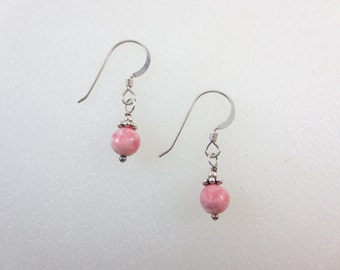Rhodochrosite 6 mm Earrings - Sterling Silver Earrings - 14k Gold Fill Earrings