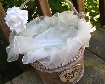 Wedding Decoration - Flower Girl Pail - Flower Girl Basket - Flower Girl - Rustic - Cottage Chic - Country - Southern Style Decor