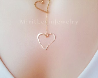 Double heart necklace  in 14K Gold filled or Sterling Silver Lariat necklace each heart is handmade Valentine's Day gift