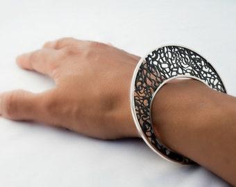 Unique Handmade Filigree Bracelet - Sterling Silver Statement bracelet - Modern Bangle