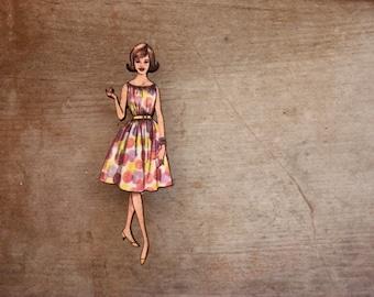 Fabulous Fashion Brooch, Sun Dress with Spots, Vintage Frock Brooch, Made in Australia