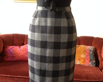 The Secretary - black and gray plaid pencil skirt with high waist - knee length skirt with back slit
