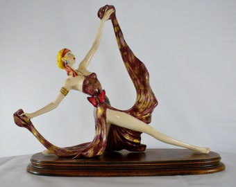 Amiloare Santini, Italian Statue, Art Deco Lady, Made in Italy, Signed Collectors Figurine, Dancing Lady, Dancing Figurine, Italian Statue
