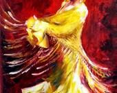 Original Oil Painting Flamenco Dancer - Yellow Dress - Large Size - Tango Passion - Latin Woman Dancing Red Hot - Ready To Hang