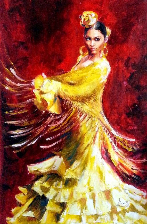 Original oil painting flamenco dancer yellow dress large for Peinture mural original