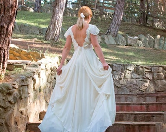 Wedding Dress, Grecian Wedding Gown, Ivory Wedding Dress, Lace Wedding Gown, Lace Long Gown, Chiffon Gown, Handmade Gown by SuzannaM Designs