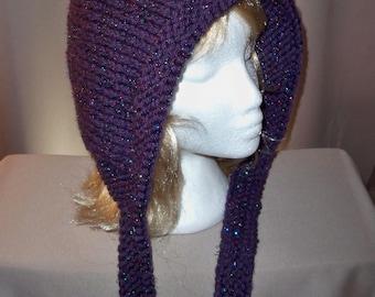 Pixie Hat Winter Wool Hood Glittery Sparkely Bonnet Womens Pointed Top Renaissance Purple