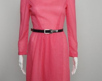 Vintage 1960s 60s Pink Swiss Dot Dress