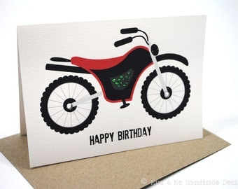 Birthday Boy Card - Happy Birthday - Red and Black Motorbike - HBC087