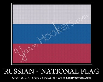 Russian National Flag - Afghan Crochet Graph Pattern Chart by Yarn Hookers