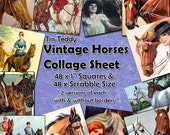 "Vintage Horses Digital Collage Sheet  - 1 Inch Squares and Scrabble Sized .75"" x .83"" Printable for Jewelry & Crafts Horses and Ponies"