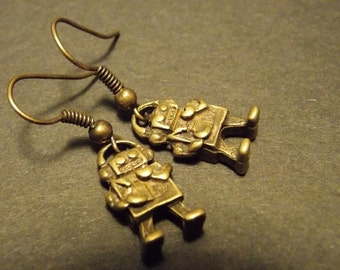 Bronze Toy Robot Earrings