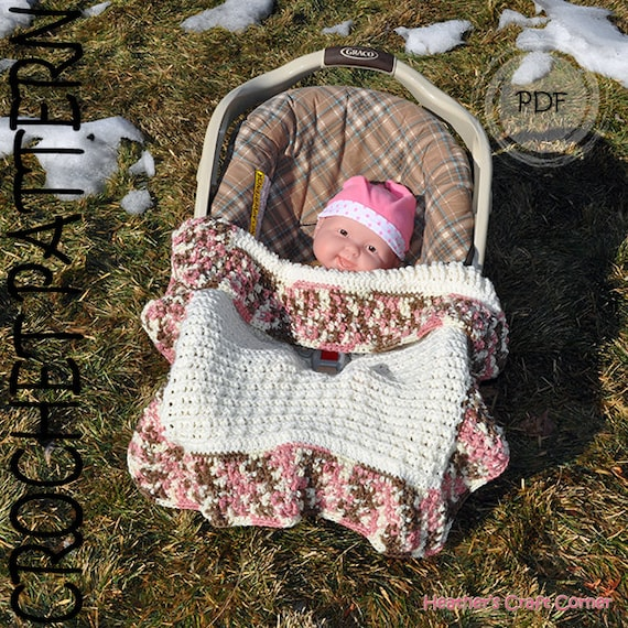 Crochet Pattern -Waffle Stich Car Seat / Stroller Blanket - Reversible (US & UK Terms included)