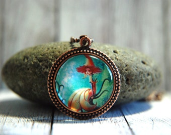 "1"" Round Glass Pendant Necklace or Key Chain  - Whimsical Woodland Fairy"