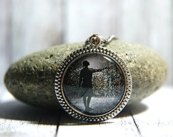"""1"""" Round Glass Pendant Necklace or Key Chain  - Woman in the Rain"""