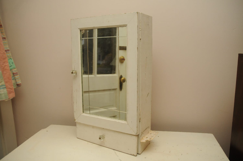 Antique Handmade Wood Medicine Cabinet Shaving Cabinet