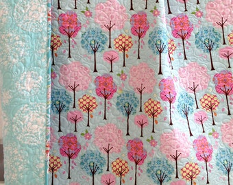 Modern Baby Girl Quilt with Colorful Trees and Flowers Pretty Little Things Pink Teal Blue Handmade Baby Quilt