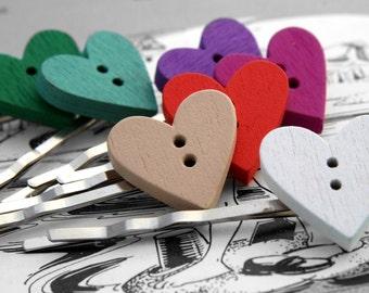 Wooden Heart Hair Slides