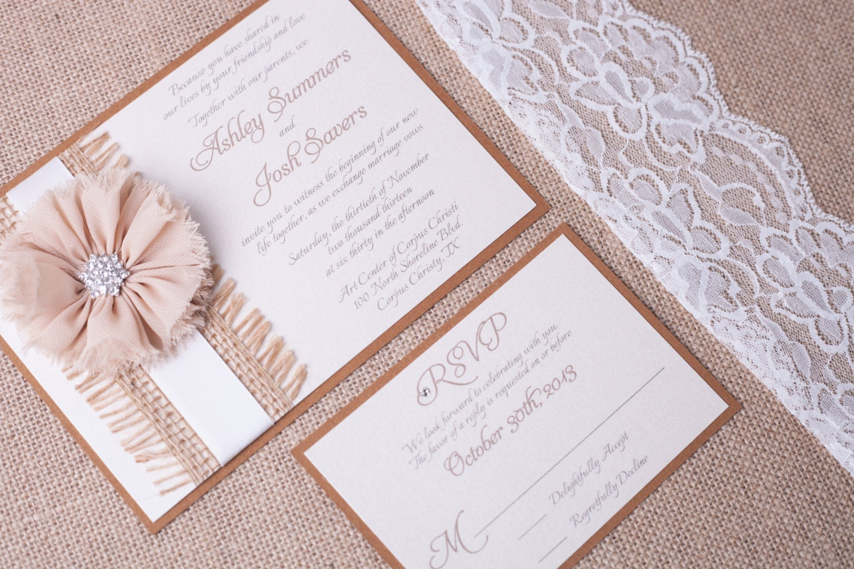 ASHLEY Country Chic Rustic Wedding Invitation Kraft Brown