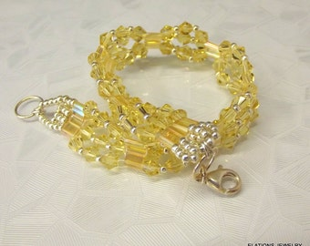 Free Shipping! Cluster Bracelet~ ! .925 Clasp/ Y8.5 inches/ Yellow /Sparkles/ Swarovski~ Jonquil