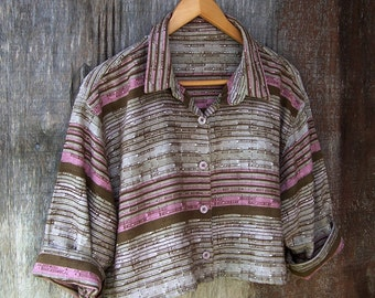CROPPED SUMMER TOP blouse upcycled tan pink stripe shirt cotton boxy fit crop top oversized summer top women small medium large