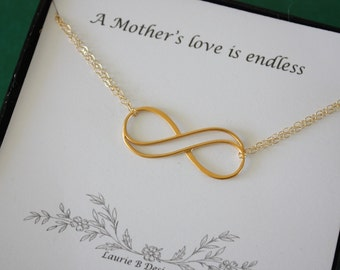 Infinity Mother Gift Gold, Mom Necklace, Endless Love, Thank You Card, Gold Necklace, Infinity Charm