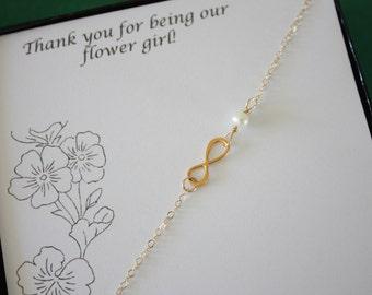 Flower Girl Infinity Bracelets, Infinity Gift, Child Jewelry, Gold Infinity, Sterling Silver, Flower Girl Bracelet, Thank You Card, Gold
