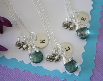 3 Tie the Knot Necklaces, Bridesmaid Initial and Bow Charms, Sterling Silver, Gemstone, Tiny Bow, Silver Bow, Initial jewelry,