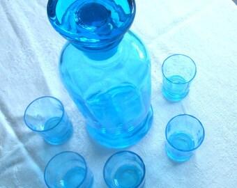 Vintage Decanter Cordial Set Blue Glass