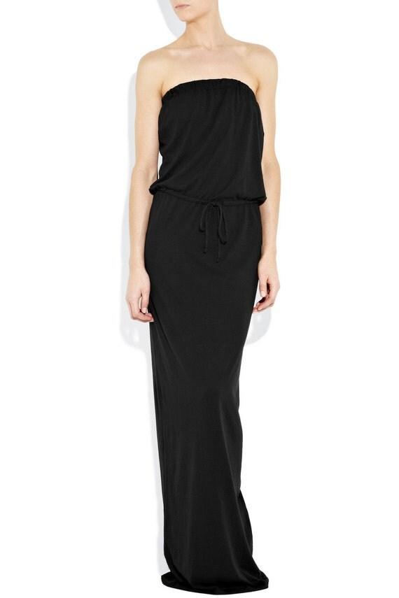 Strapless maxi dress. Vacation jersey dress. Black tube maxi dress.Summer dress