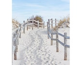 Beach Photography Print, Coastal Wall Art, sand dune beach path photo, beach art, Blue Brown Beige Seashore Decor 'Island Beach Path'