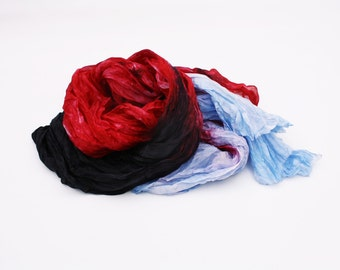 red silk scarf - Power of Color -  blue, red, black silk scarf.