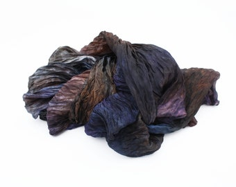 brown silk scarf - Midnight Goddess - brown, blue, grey, purple silk ruffled scarf.