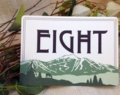 Jay Peak Mountain Flat 2-sided Craftsman Horizontal Table Number Cards: Get Started Deposit or DIY Payment