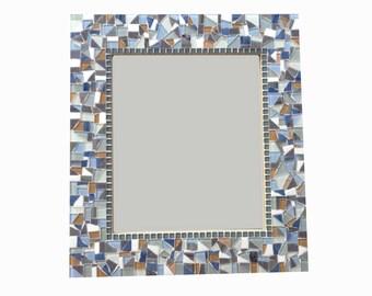 Mosaic Mirror, Decorative Wall Mirror, Blue Gray White