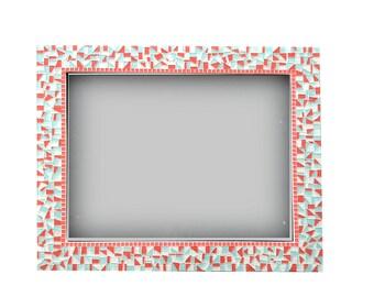 Mosaic Wall Mirror, Aqua Coral White, Nursery Decor, Baby Girl Mirror, Decorative Mirror, Mosaics