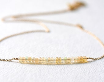 White Opal Necklace October Birthstone Gold Filled Beaded Bar