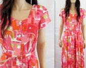 Secretary Dress / 80's Dress / Vintage 80's Dress 80's Secretary Dress Sexy 80's Dress 80's Party Dress Pink Dress Peach Dress Vintage Dress