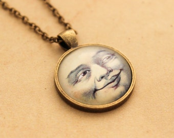 Steampunk Moon Necklace  - Cabochon Pendant