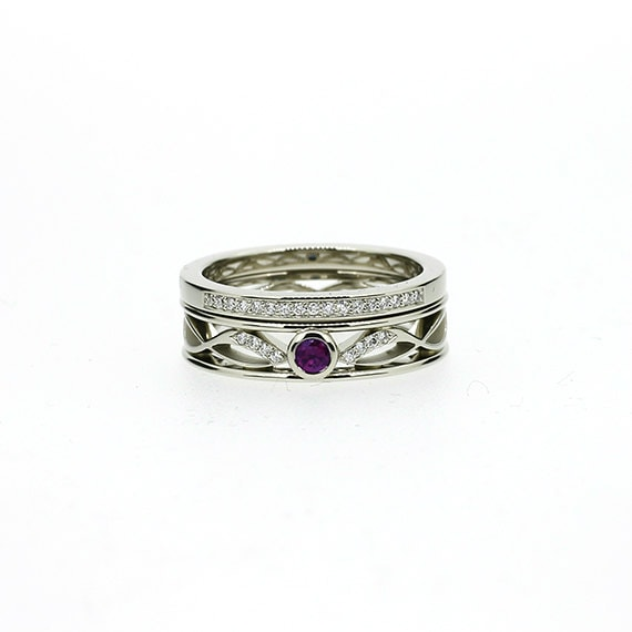 Engagement ring set amethyst ring filigree diamond ring for Amethyst diamond wedding ring set