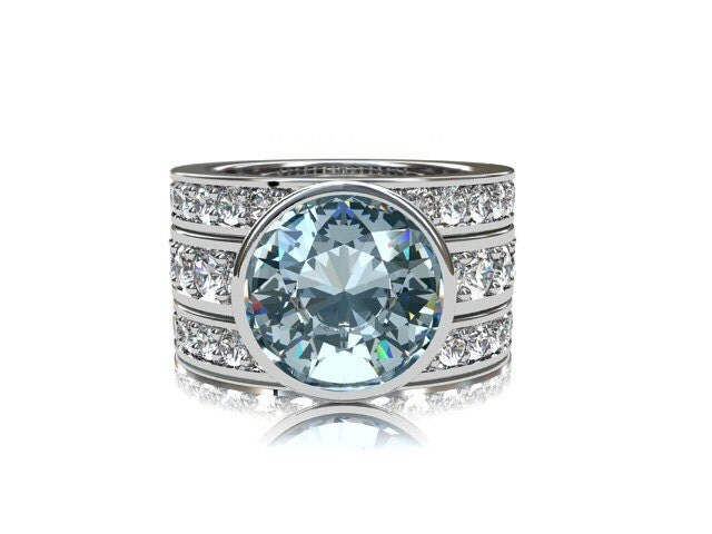 900mm Aquamarine Engagement Ring Set White Sapphire Ring