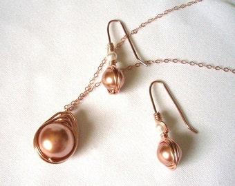 Rose Gold Jewelry Set with Swarovski Rose Gold Pearl, Jewelery Set, Pearl Earring and Pendant Set, Birthday or Anniversary Gift for Her