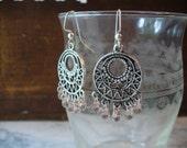 Chandelier Earrings, Pale Pink Drop Bead Chandelier, Dangle Filigree Earring, Glass Drop Beads, Silver Jewelry, Pink Earrings, Dlabeaddesign