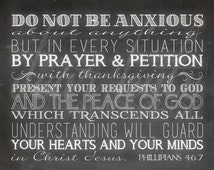 Do Not Be Anxious About Anything (Phillipians 4:6-7) Chalkboard Print