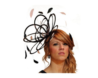 Black and Baby Pink Feather Fascinator Hat - wedding, ladies day - choose any colour feathers & satin