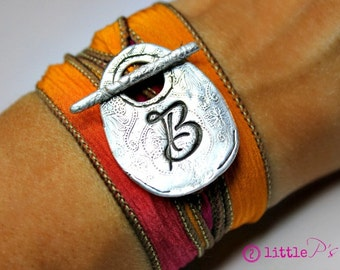 Monogram Jewelry, Personalized, Gift  Cursive Letter Silk Wrap Bracelet