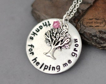 thank you necklace, Tree Necklace, Birthstone Necklace, woodland Jewelry, nature, forest, mother, grandma, teacher, grow,help,metal stamping