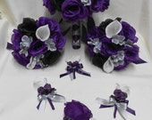 Reserved Listing Wedding Silk Flower Bridal Bouquets Calla Lily Black Purple Eggplant Silver Grey Bride Boutonnieres Corsages FREE SHIPPING