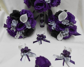 Wedding Silk Flower Bridal Bouquets Package Calla Lily Black Purple Eggplant  Plum Rose Silver Grey Bride Boutonniere Corsages FREE SHIPPING